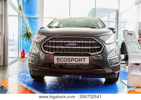 Kirov, Russia - May 07, 2019: Car In Showroom Of Dealership Ford In Kirov