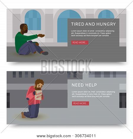 Vector Horizontal Banners With Illustrations Of Poor And Homeless Peoples. Hopeless And Workless Cau