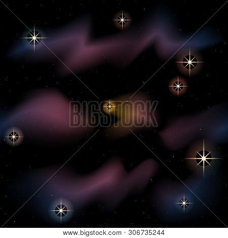 Twilight Colored Space Background With Sparkling Stars And Nebulae. Graphics Are Grouped And In Seve