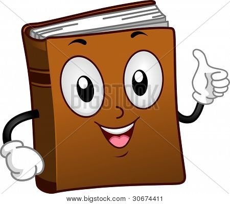 Illustration of a Book Mascot Giving a Thumbs Up