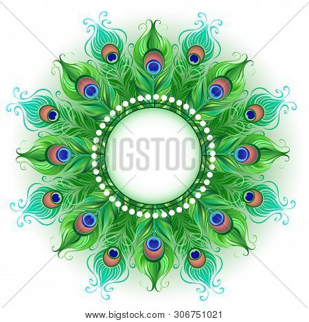 Mandala And Bright Green, Peacock Feathers On A White Background. Design With Bright Feathers. Boho