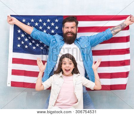 4th Of July. Americans Celebrate Independence Day. Father And Daughter Usa Flag. Patriotic Family. I