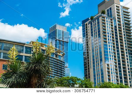 Rising Modern Skyscrapers Rise Up In A Blue Sky Over Austin Texas Usa Downtown Modern Condos Highris