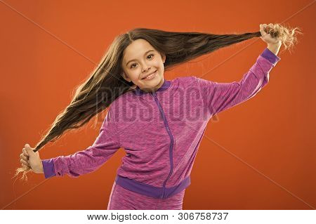 Strong Hair Concept. Kid Girl Long Healthy Shiny Hair. Main Thing Is Keeping It Clean. Use Gentle Sh