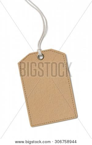 Blank brown paper label or cloth tag isolated