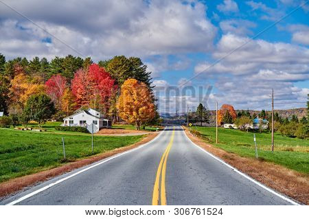 Highway at sunny autumn day in New Hampshire, USA