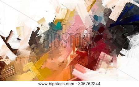 poster of Abstract colorful oil painting on canvas texture. Hand drawn brush stroke, oil color paintings background. Modern art oil paintings with yellow, red color. Abstract contemporary art for background