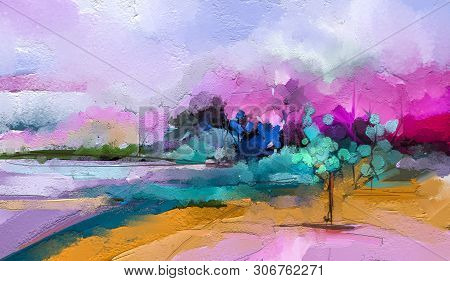 Abstract Colorful Oil Painting On Canvas. Semi Abstract Image Of Tree ,field, Meadow. Landscape Pain
