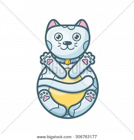 Maneki-neko Cat. Sitting Hand Drawn Lucky White Cat. Japanese Culture