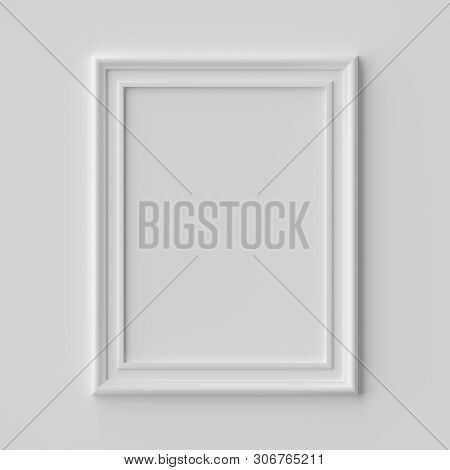 White Blank Vertical Picture Or Photo Frame On White Wall With Shadows, White Colorless Picture Fram