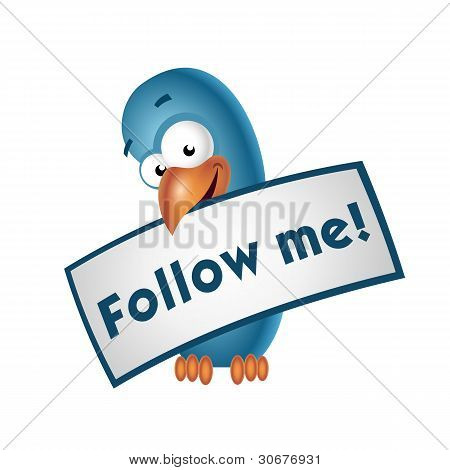 Blue bird holding follow me sign / isolated poster