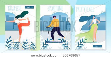Urban Healthy Lifestyle Flat Cartoon Cards Set. Yoga Life, Sport Time And Pretty Place Lettering Pos