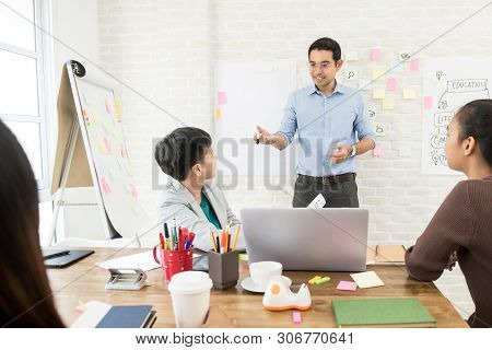 Handsome Asian Male Teacher Giving Explanantion To Female Oversea College Students In The Classroom
