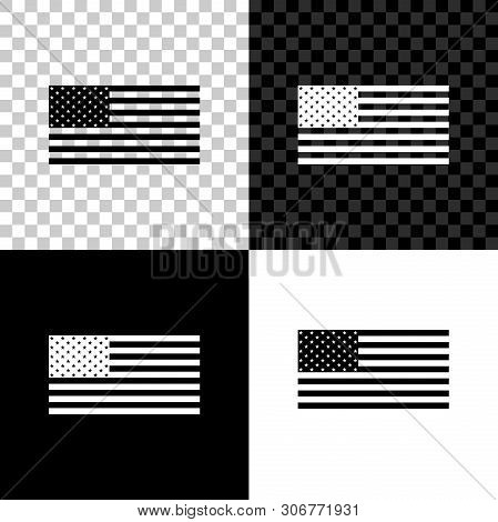 American Flag Icon Isolated On Black, White And Transparent Background. Flag Of Usa. Vector Illustra