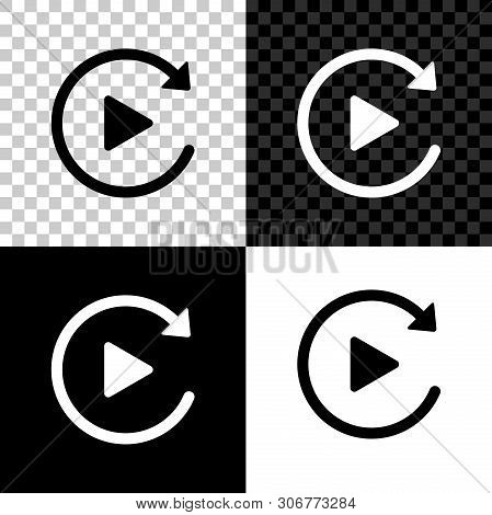 Video Play Button Like Simple Replay Icon Isolated On Black, White And Transparent Background. Vecto