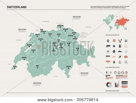 Vector Map Of Switzerland. Country Map With Division, Cities And Capital Bern. Political Map,  World