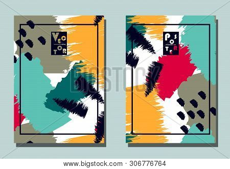 Cover with graphic elements - abstract shapes, paint strokes. Two modern vector flyers in avant-garde collage style. Geometric wallpaper for business brochure, cover design. poster