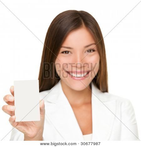 Sign card woman holding paper like mobile phone or smart phone. Empty paper business card with copy space. Beautiful young businesswoman smiling happy in white suit isolated on white background.