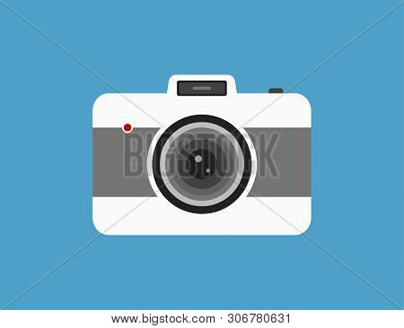 Vector Camera In Flat Retro Style. Vintage Photography Technology. Old Hipster Picture Device.