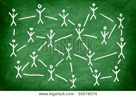 Social media network. Networking concept photo of blackboard chalk drawing of people connected.