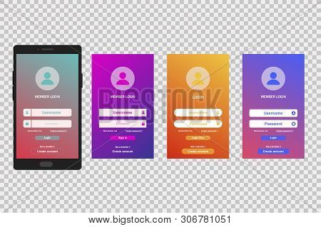 Login Gradient Screen Template. Mobile Application. Register Account. User Page Form.
