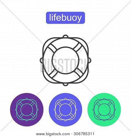 Lifebuoy Outline Icons Set. Editable Stroke Lifeguard Preserver Sign For Mobile Application. Lifebuo
