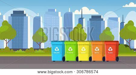 Rubbish Containers Different Types Of Recycling Bins Segregate Waste Sorting Management Environment