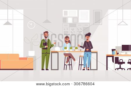 Couple Coworkers Pointing At New Female Employee Introducing Hired Worker To The Team Concept Modern