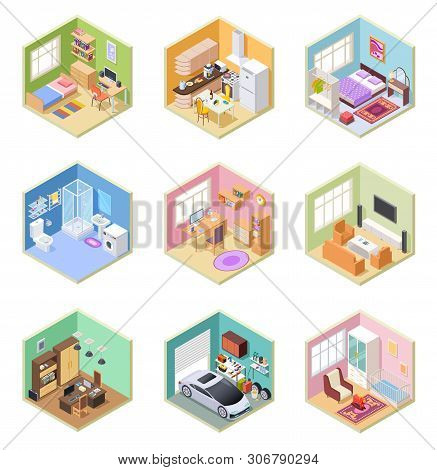 Isometric Rooms. Designed House, Living Room Kitchen Bathroom Bedroom Toilet Apartment Interior With