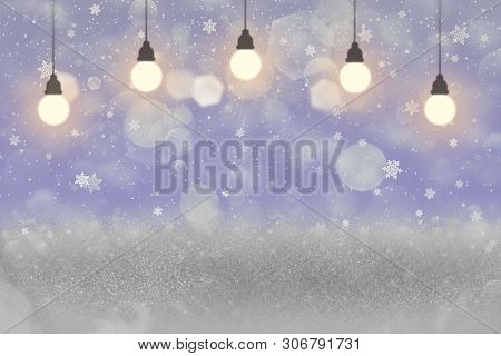 Pretty Shining Abstract Background Glitter Lights With Light Bulbs And Falling Snow Flakes Fly Defoc
