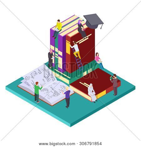 Library, Education Vector Isometric Concept. Illustration Of Students And Books, Self Education. 3d
