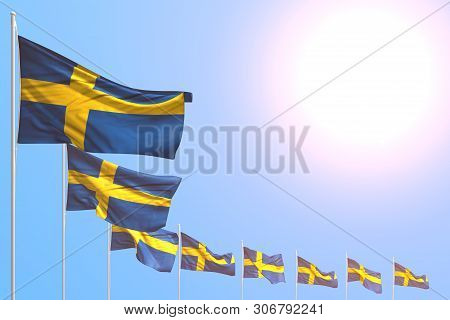 Beautiful Celebration Flag 3d Illustration  - Many Sweden Flags Placed Diagonal On Blue Sky With Pla