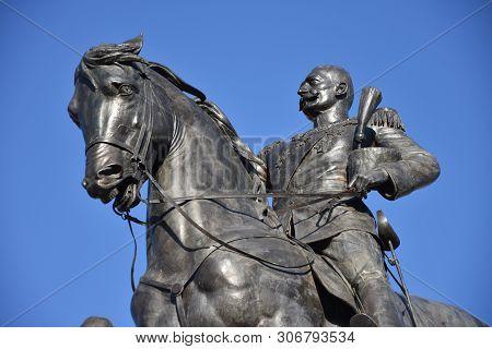 Novi Sad, Serbia: December 2, 2018 - Monument To King Peter I Karadjordjevic Of Serbia In Novi Sad,