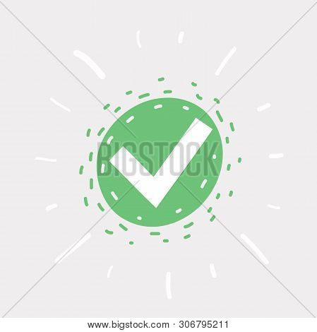 Cartoon Vector Illustration Of Check Mark. Done Hand Drawn Icon On White.