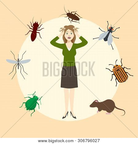 Madly Frightened Woman. Girl Afraid Of Pests. Cockroach, Mouse, Rat, Mosquito, Fly, Bugs In A Circle