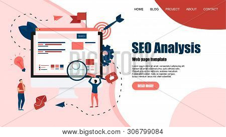 Webpage Template. Seo Analysis With Search And Magnifier On Desktop. Business Concept.
