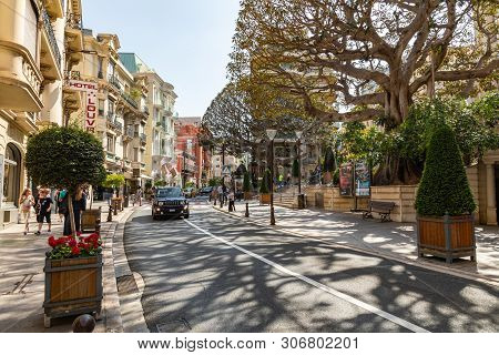Monte Carlo, Monaco - June 04, 2019: Beautiful Old Architecture Style Of Residential Buildings In Th