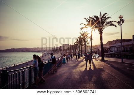 Nice In The Evening After Sunset. French Riviera. Provence-alpes-cote D'azur, France.