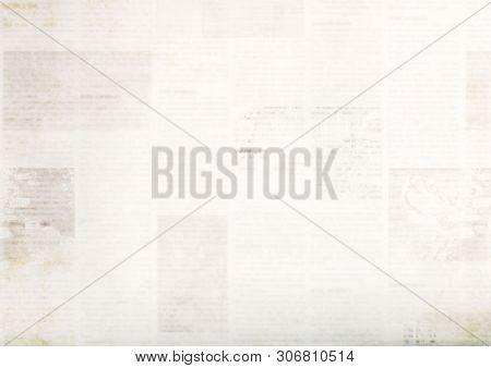 Vintage Grunge Newspaper Paper Texture Background. Blurred Old Newspaper Background. A Blur Unreadab