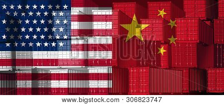 China Us Trade Business Concept As A Chinese Usa Tariff War And American Tariffs As Two Opposing Gro