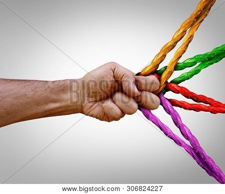 Group Management Concept Connected As Many Different Ropes Tied And Linked Together As An Unbreakabl