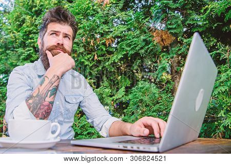 Man Looking For Inspiration. Find Topic Write. Bearded Hipster Laptop Surfing Internet. Reporter Jou