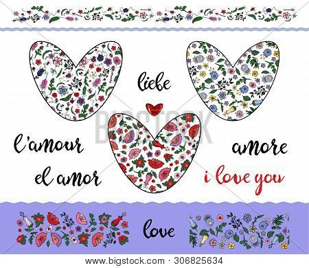 Set Of Floral Doodling Hearts With Editable Stroke On The Transparent Background. Borders And Word L