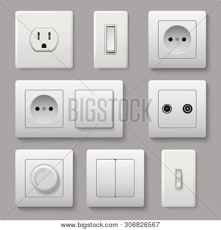 Wall Switch. Power Electrical Socket Electricity Turn Of And On Plug Vector Realistic Pictures. Elec