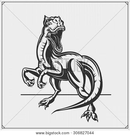 Raptor Dinosaur Mascot. Raptor Emblem For Sport-club. Print Design For T-shirt.