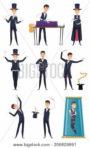 Magician. Male Performer Showmen In Black Costume And White Gloves Magic Tricks Vector Cartoon Chara