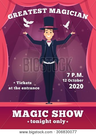 Magic Poster Invitation. Circus Magician Show Placards Vector Template Red Curtains Shows Of Wizard