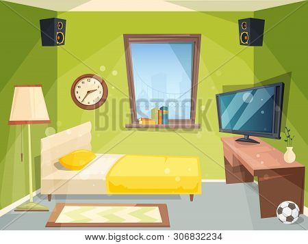 Teen Room. Small Bedroom For Kids Student Apartment Inside Of House Modern Interior Vector Cartoon.