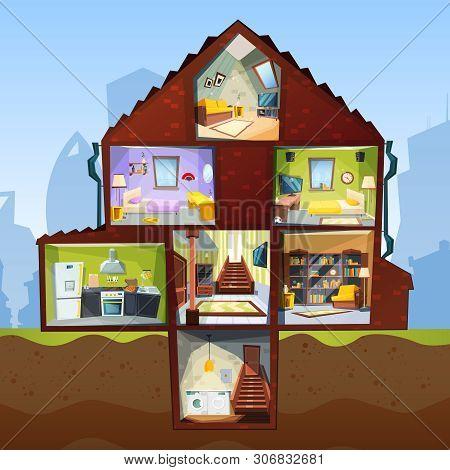 House Cross Section. Room Indoor Bedroom Basement Apartment Interior Vector Cartoon Style Pictures.