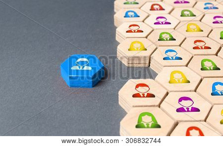 An Employee Is Preparing To Join A Business Team Or Company. Hexagons. Recruiting New Employees And